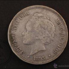 Monedas de España: MONEDA 5 PESETAS PLATA - ALFONSO XIII. AÑO 1893 *93 - P.G.-V. - CONSERVACIÓN RC+. Lote 41506391