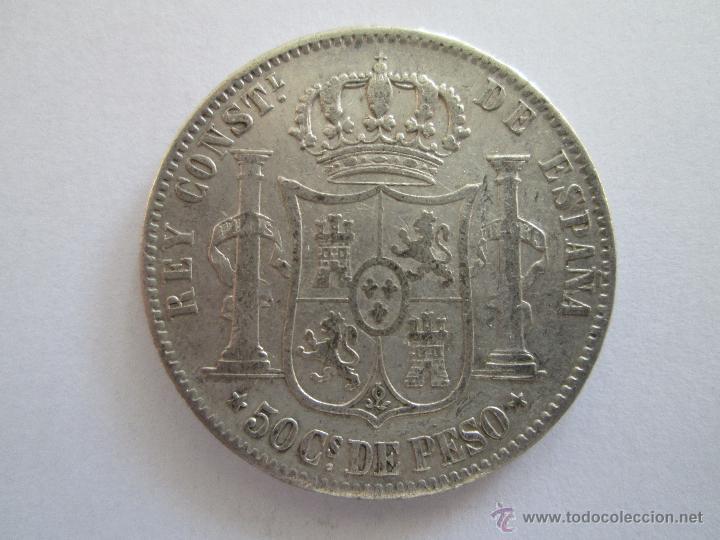 Monedas de España: ALFONSO XII * 50 CENTAVOS DE PESO * 1885 * FILIPINAS * PLATA - Foto 2 - 42225059