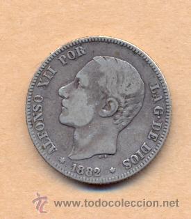 BRO 15 ALFONSO XII 2 PESETAS 1882 MADRID - M.S.M. PLATA MEDIDAS SOBRE 27 MM PESO SOBRE 10 GRAM (Numismática - España Modernas y Contemporáneas - De Isabel II (1.834) a Alfonso XIII (1.931))