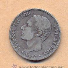 Monedas de España: BRO 15 ALFONSO XII 2 PESETAS 1882 MADRID - M.S.M. PLATA MEDIDAS SOBRE 27 MM PESO SOBRE 10 GRAM. Lote 42425443