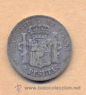 Monedas de España: BRO 15 ALFONSO XII 2 PESETAS 1882 MADRID - M.S.M. PLATA MEDIDAS SOBRE 27 MM PESO SOBRE 10 GRAM - Foto 3 - 42425443