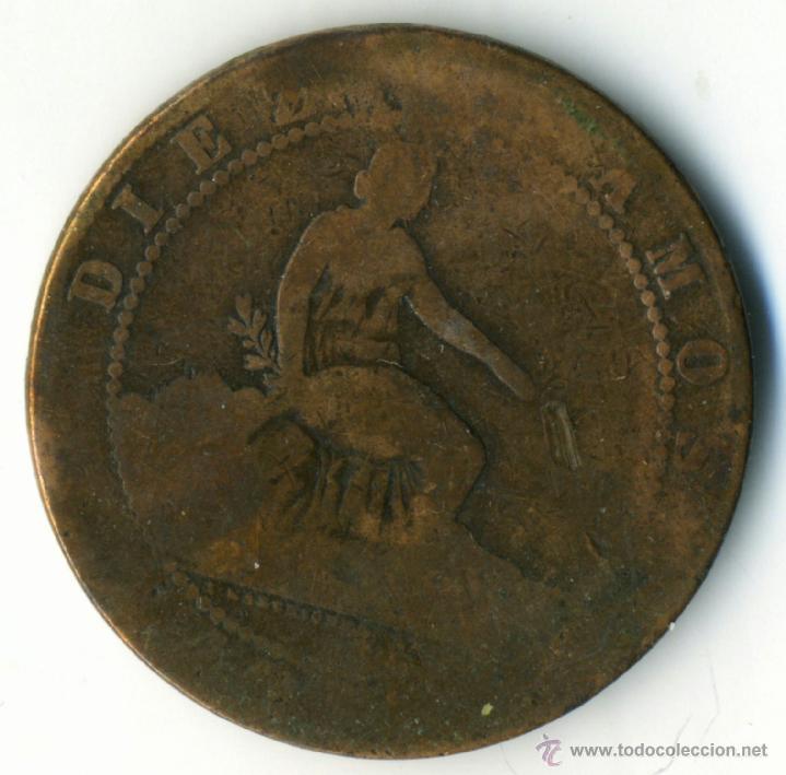 Monedas de España: 10 céntimos 1870. Gobierno Provisional. cobre - Foto 2 - 42425697