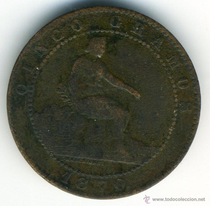 5 CÉNTIMOS GOBIERNO PROVISIONAL. 1870, COBRE (Numismática - España Modernas y Contemporáneas - De Isabel II (1.834) a Alfonso XIII (1.931))