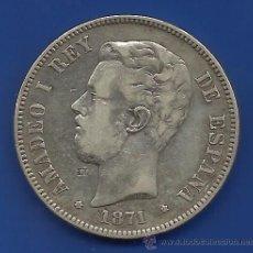 Monedas de España: AMADEO I 5 PESETAS PLATA 1871 *18-71 SDM ESTRELLAS VISIBLES. Lote 42546436