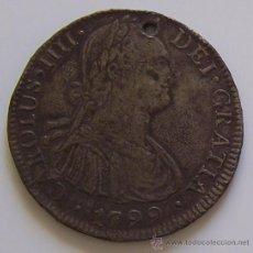 Monedas de España: 8 REALES CARLOS IV 1799 MEXICO MONEDA COLONIAL DE PLATA CON AGUJERITO. Lote 42573657