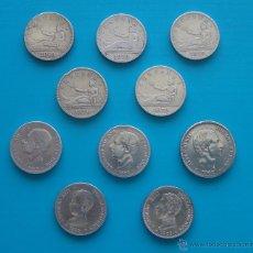 Monedas de España: LOTE DE 10 MONEDAS DE PLATA 2 PESETAS GOBIERNO PROVISIONAL, ALFONSO XII , ALFONSO XIII Y FILIPINAS. Lote 43040375