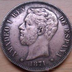 Monedas de España: 5 PESETAS DE PLATA AMADEO I 1871 * 18-71 BUEN ESTADO DE CONSERVACION. Lote 262480870