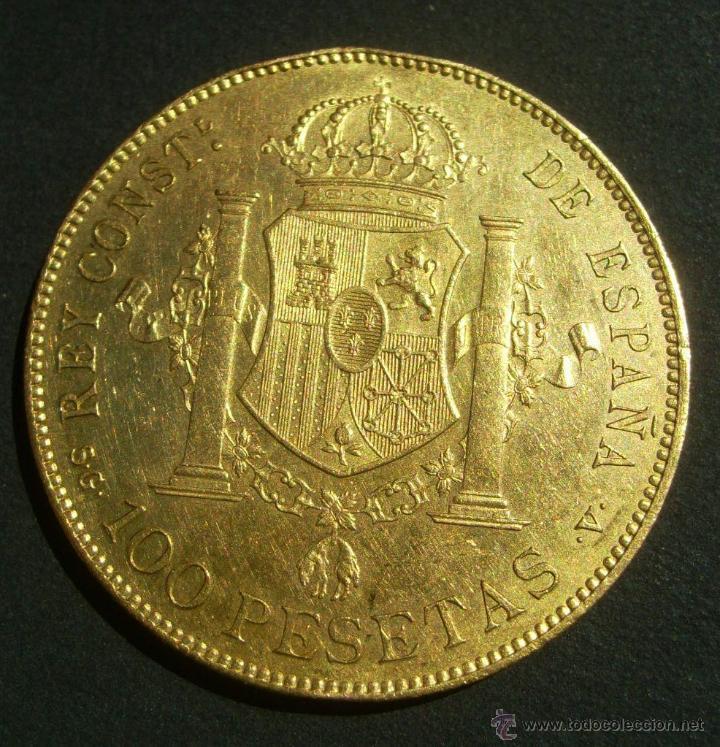 Monedas de España: ESPAÑA 100 PESETAS ORO ALFONSO XIII E,B.C- VARIANTE SIN CATALOGAR - Foto 2 - 43573036
