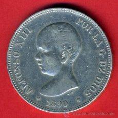 Monete da Spagna: MONEDA 5 PESETAS ALFONSO XIII, 1890 MPM ESTRELLAS 18 - 90 , MBC, DURO DE PLATA ORIGINAL, D1389. Lote 43715143