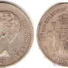 Monedas de España: F--ESPAÑA- 5 PESETAS EN PLATA DE AMADEO I AÑO 1871*18*71 ESTRELLAS MUY CLARAS--MBC. Lote 43927023