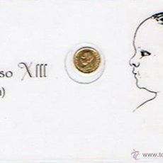 Monedas de España: CARNET DE ALFONSO XIII (EL PELÓN) CON PEQUEÑA MONEDA 5 PESETAS DE 1890 (PLASTIFICADO). Lote 43960232