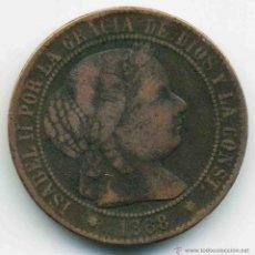 Monedas de España: 2 Y 1/2 CENTIMOS DE ESCUDO ISABEL II 1868 BARCELONA. Lote 44030785