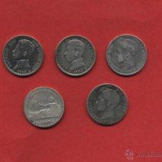 Monedas de España: 5 MONEDAS DE 1 PTA.I REPUBLICA 1869 GOBIERNO PROVISIONAL ALFONSO XIII 1899*--,1902*--,1903*--1904*--. Lote 44261094