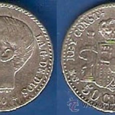 Monedas de España: 87 D--ESPAÑA-50 CÉNTIMOS DE PLATA-ALFONSO XII (12), 1880, 8-0 -MSM-EBC. Lote 44287833