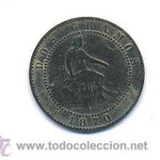 Monedas de España: MONEDA DOS GRAMOS AÑO 1870 2 CENTIMOS. Lote 44463559