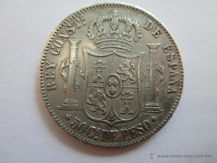 Monedas de España: ALFONSO XII * 50 CENTAVOS DE PESO 1885 * FILIPINAS * PLATA - Foto 2 - 44901290