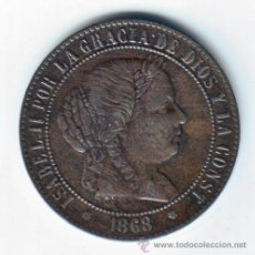 Monedas de España: ESPAÑA ISABEL II 2 1/2 CENTIMOS DE ESCUDO 1868 BARCELONA. Lote 44984691