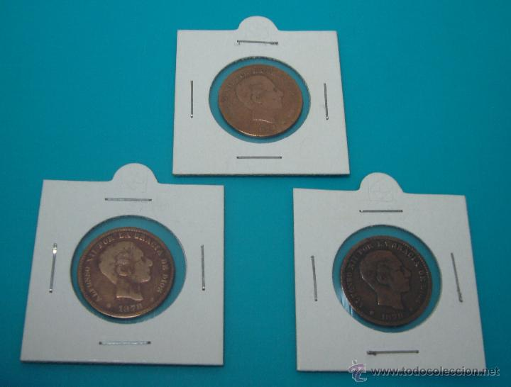 LOTE 3 MONEDAS ALFONSO XII CINCO CENTIMOS 1877 1878 1879 COBRE (Numismática - España Modernas y Contemporáneas - De Isabel II (1.834) a Alfonso XIII (1.931))