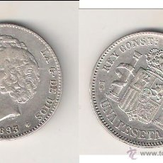 Monedas de España: MONEDA DE ALFONSO XIII DE PESETA-PGL DE MADRID 1893 *18-93. PLATA. MBC. CATÁLOGO GUERRA-69. (ALF12).. Lote 45468458