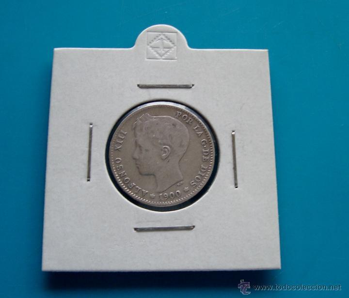 MONEDA DE PLATA DE 1 PESETA ALFONSO XIII AÑO 1900 SM V (Numismática - España Modernas y Contemporáneas - De Isabel II (1.834) a Alfonso XIII (1.931))