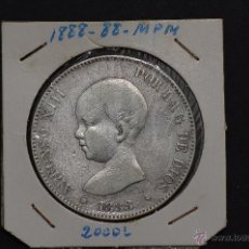 Monedas de España: MONEDA DE PLATA DE 5 PESETAS DE ALFONSO XIII- MP.M. 1888*88. Lote 45714459