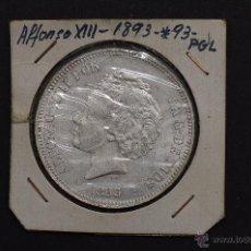 Monedas de España: MONEDA DE PLATA DE 5 PESETAS DE ALFONSO XIII- PG.L.S/C 1893*93. Lote 45714548