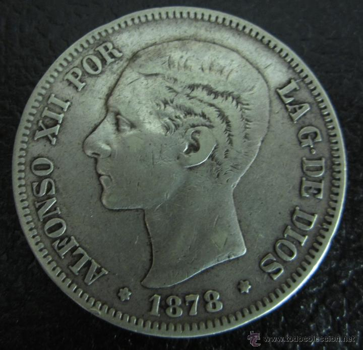 ALFONSO XII. 5 PESETAS PLATA 1878 DE M. DIÁMETRO 37 MM. PESO 24,6 GRAMOS (Numismática - España Modernas y Contemporáneas - De Isabel II (1.834) a Alfonso XIII (1.931))