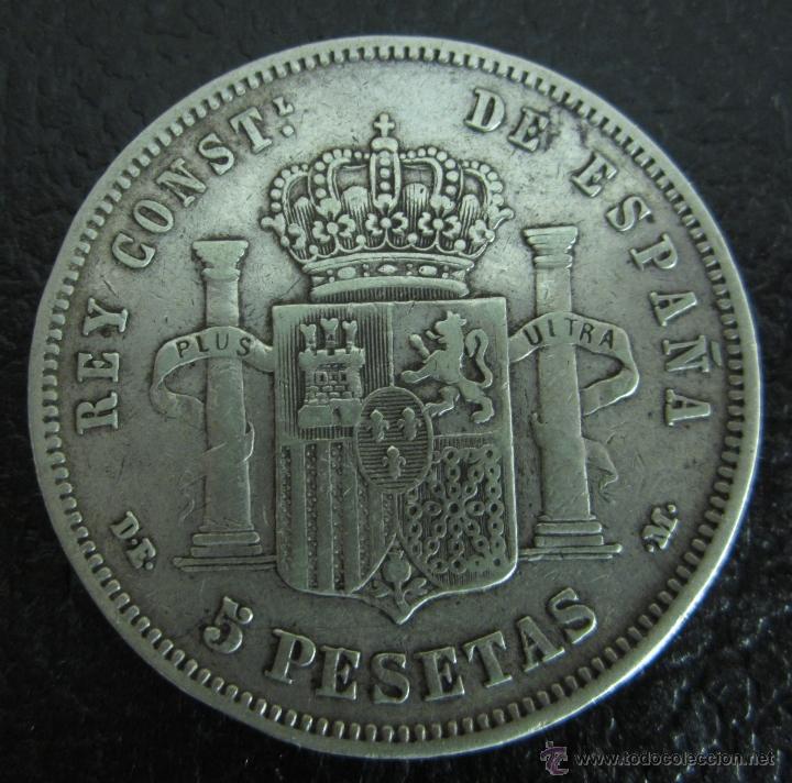 Monedas de España: ALFONSO XII. 5 PESETAS PLATA 1878 DE M. DIÁMETRO 37 MM. PESO 24,6 GRAMOS - Foto 2 - 46117431