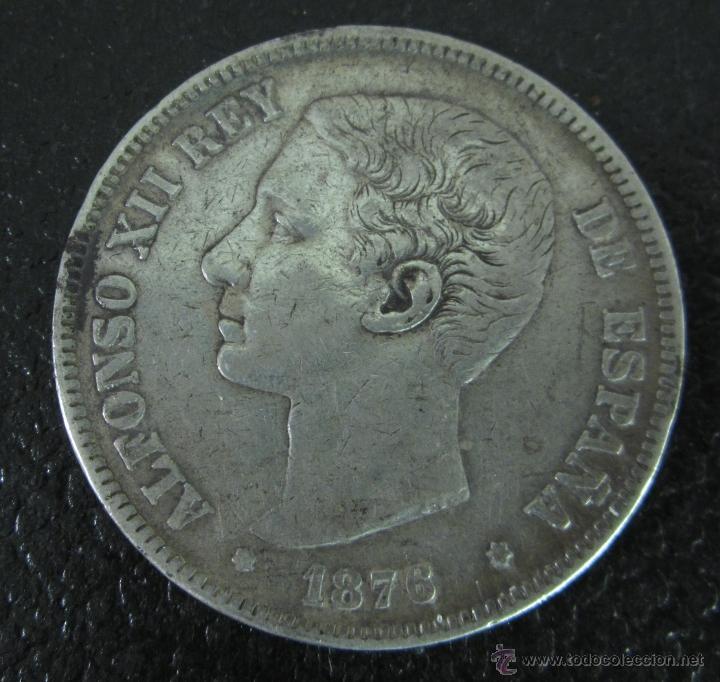 ALFONSO XII. 5 PESETAS PLATA 1876 DE M. DIÁMETRO 37 MM. PESO 24,5 GRAMOS (Numismática - España Modernas y Contemporáneas - De Isabel II (1.834) a Alfonso XIII (1.931))