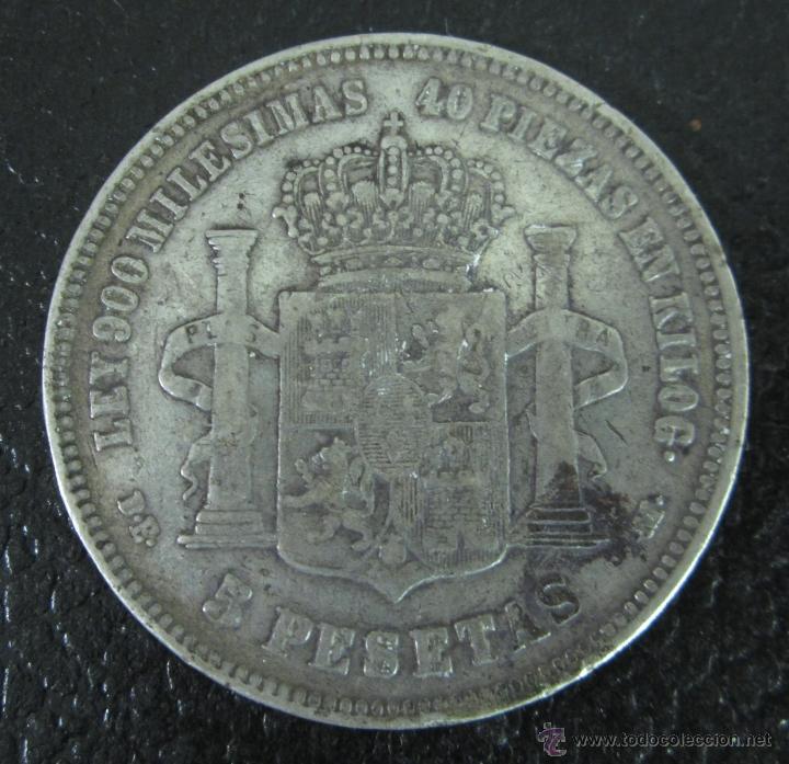 Monedas de España: ALFONSO XII. 5 PESETAS PLATA 1876 DE M. DIÁMETRO 37 MM. PESO 24,5 GRAMOS - Foto 2 - 46120348