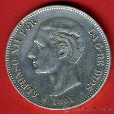 Monedas de España: MONEDA 5 PESETAS, ALFONSO XII , 1881 RARO , EBC , DURO PLATA , ESTRELLAS 18 81 , ORIGINAL , M1124. Lote 46268322