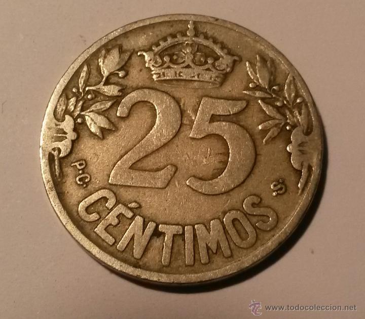 Monedas de España: 25 centimos Alfonso XIII 1925 - Foto 2 - 46295589