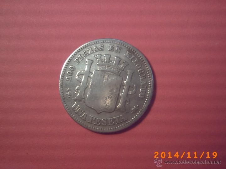 Monedas de España: MONEDA DE UNA PESETA DEL GOBIERNO PROVISIONAL AÑO 1870 - PLATA - - Foto 2 - 46328939