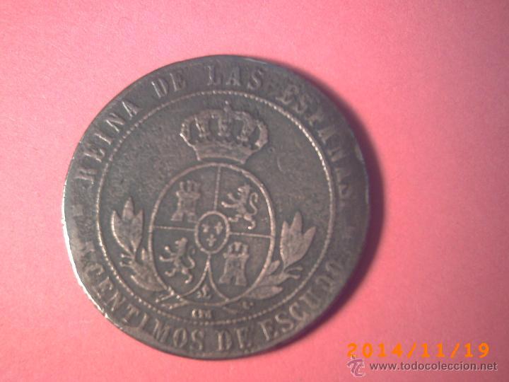 Monedas de España: MONEDA DE 5 CENTIMOS DE ESCUDO ISABEL II - AÑO 1858 - COBRE - Foto 2 - 46333726