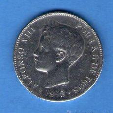 Monedas de España: ALFONSO XIII 5 PESETAS PLATA 1898 MADRID MONEDA - DURO DE PLATA 23 GRAMOS. Lote 46475848