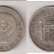 Monedas de España: 5 PESETAS (DURO) DE ALFONSO XII DE 1885 *18-85. ACUÑADA EN MADRID. ENSAYADOR MSM. PLATA. MBC- (AL31). Lote 46675178