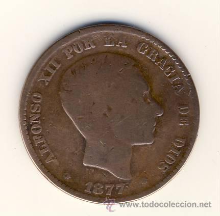 DIEZ CÉNTIMOS.- ALFONSO XII.- 1877.- BARCELONA OM.- (Numismática - España Modernas y Contemporáneas - De Isabel II (1.834) a Alfonso XIII (1.931))