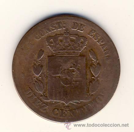 Monedas de España: DIEZ CÉNTIMOS.- ALFONSO XII.- 1877.- BARCELONA OM.- - Foto 2 - 46768202