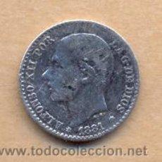 Monedas de España: BRO 233 - ALFONSO XII 50 CENTIMOS 1881 (8) (1) EL 1 ALGO DIFUSO MADRID MSM PLATA MEDIDAS SOBRE. Lote 47439042