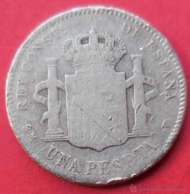 Monedas de España: ALFONSO XIII. MONEDA DE 1 PESETA. 1900. PLATA. - Foto 2 - 47889264