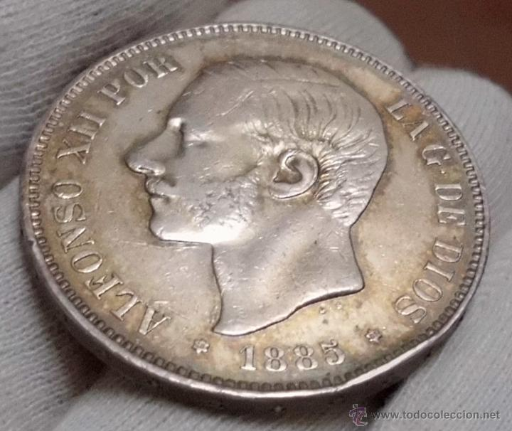 DURO 5 PESETAS 1885 *18*87 MSM. ALFONSO XII (Numismática - España Modernas y Contemporáneas - De Isabel II (1.834) a Alfonso XIII (1.931))
