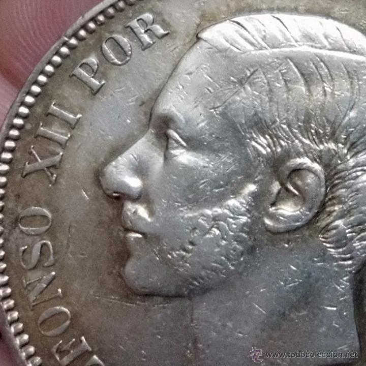 Monedas de España: DURO 5 PESETAS 1885 *18*87 MSM. ALFONSO XII - Foto 2 - 47936894