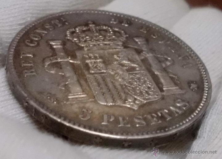 Monedas de España: DURO 5 PESETAS 1885 *18*87 MSM. ALFONSO XII - Foto 5 - 47936894