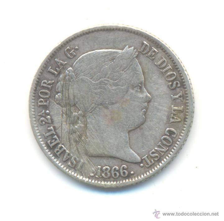 20- 40 CÉNTIMOS DE ESCUDO PLATA 1866 MADRID ISABEL II (Numismática - España Modernas y Contemporáneas - De Isabel II (1.834) a Alfonso XIII (1.931))