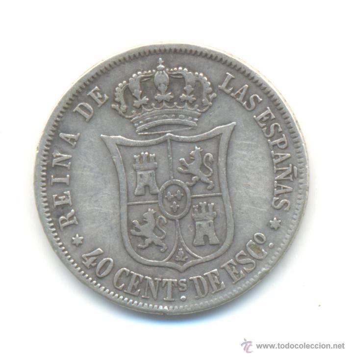 Monedas de España: 20- 40 CÉNTIMOS DE ESCUDO PLATA 1866 MADRID ISABEL II - Foto 2 - 47955474