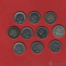Monedas de España: LOTE DE 10 MONEDAS 50 CTMOS. ALFONO XII Y XIII CALIDAD MBC- A MBC+. Lote 48321317