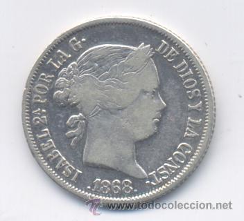 ISABEL II- 20 CENTAVOS-1868-MANILA (Numismática - España Modernas y Contemporáneas - De Isabel II (1.834) a Alfonso XIII (1.931))