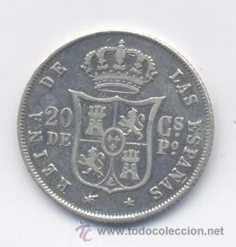 Monedas de España: ISABEL II- 20 CENTAVOS-1868-MANILA - Foto 2 - 48406944