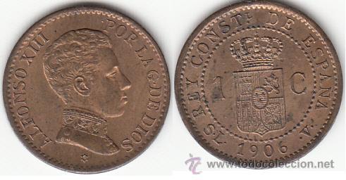 ALFONSO XIII: 1 CENTIMO 1906 (Numismática - España Modernas y Contemporáneas - De Isabel II (1.834) a Alfonso XIII (1.931))