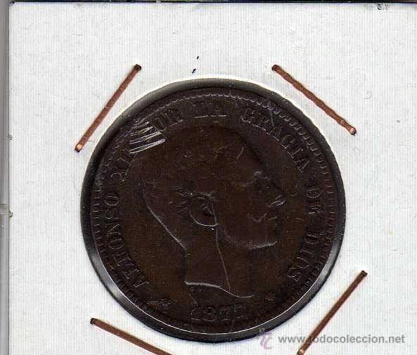 ALFONSO XII : 10 CËNTIMOS 1877 OM BARCELONA MBC- (Numismática - España Modernas y Contemporáneas - De Isabel II (1.834) a Alfonso XIII (1.931))